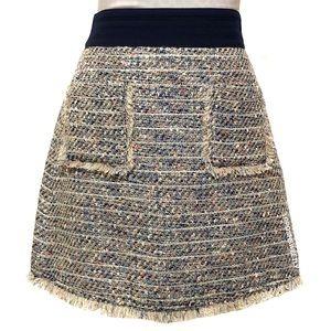 J Crew Fringe Tweed Skirt